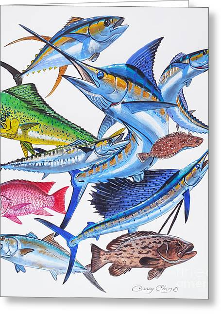 Mackerel Greeting Cards - Gamefish collage Greeting Card by Carey Chen