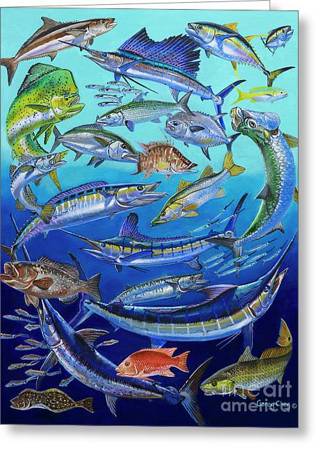 Gamefish Greeting Cards - Gamefish Collage In0031 Greeting Card by Carey Chen