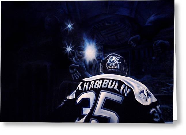 Goalie Paintings Greeting Cards - Gametime Greeting Card by Marlon Huynh