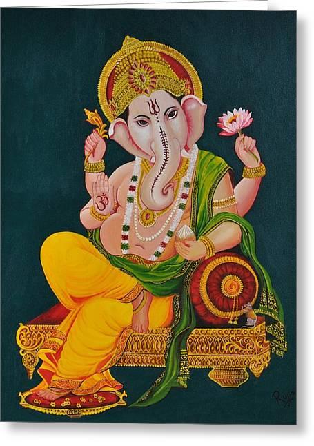 Vinayaka Greeting Cards - Ganapathi Greeting Card by Rupa Prakash