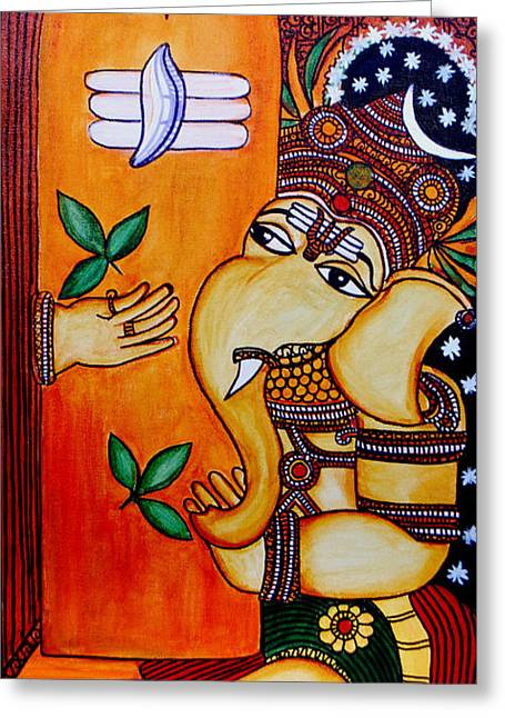 Kerala Murals Greeting Cards - Ganapathy Greeting Card by Saranya Haridasan