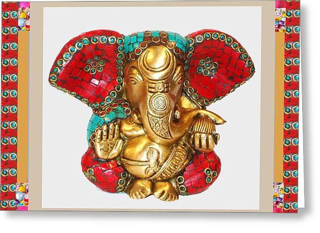 Signature Mixed Media Greeting Cards - Ganapati Ganesh Idol Hinduism Religion Religious Spiritual Yoga Meditation Deco NavinJoshi  Rights M Greeting Card by Navin Joshi
