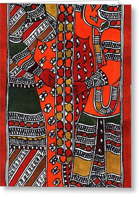 Indian Tapestries - Textiles Greeting Cards - Ganapati Viwah Greeting Card by Malini Devi