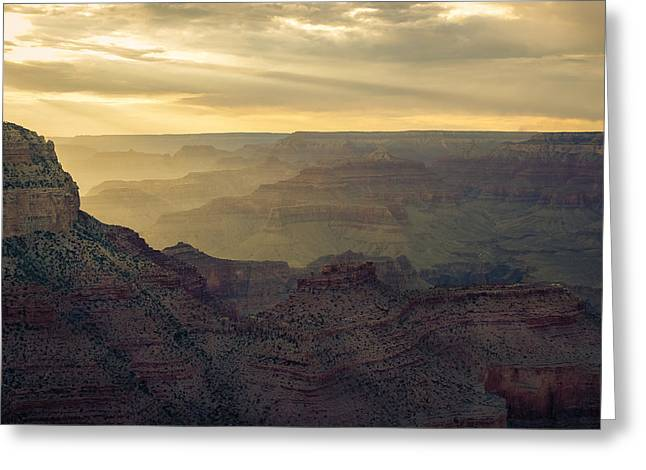 Scenario Greeting Cards - Gand Canyon Yellow Sunset Greeting Card by Chris Bordeleau