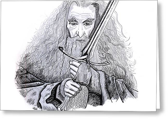 Grey Robe Greeting Cards - Gandalf Greeting Card by Leon Bale