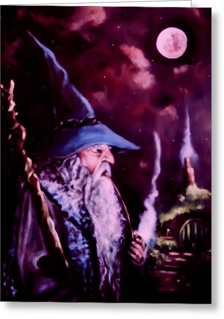 Lord Of The Rings Greeting Cards - Gandalf Mark Of The Wizard Greeting Card by Joe  Gilronan