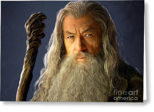 Portrait Artwork Greeting Cards - Gandalf Greeting Card by Paul Tagliamonte
