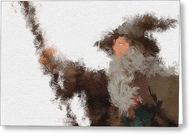 Character Portraits Digital Art Greeting Cards - Gandalf the Grey Greeting Card by Miranda Sether