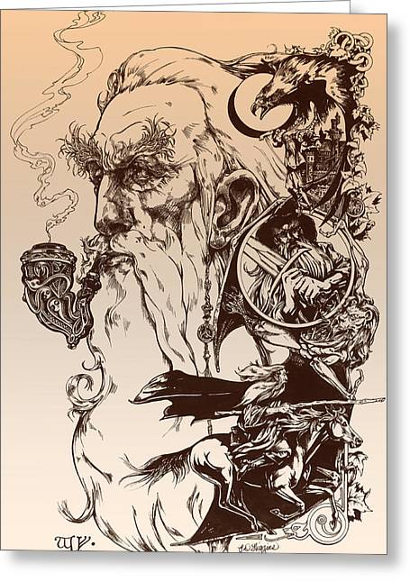 Ink Drawing Greeting Cards - gandalf- Tolkien appreciation Greeting Card by Derrick Higgins
