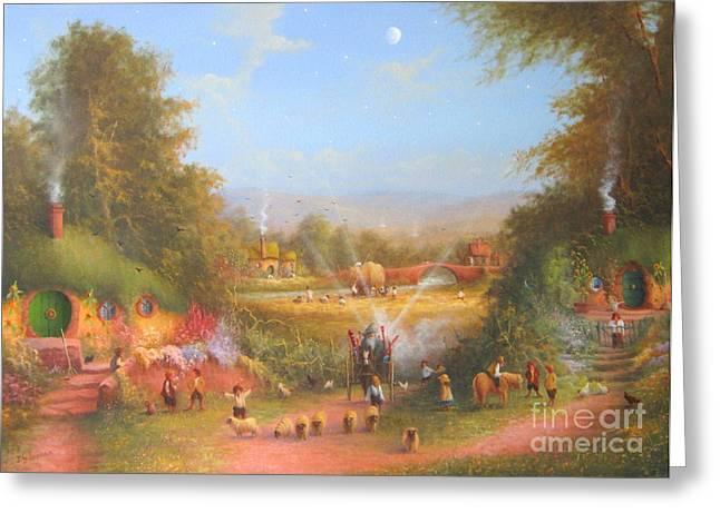 Art Book Greeting Cards - Gandalfs Return Fireworks In The Shire. Greeting Card by Joe  Gilronan
