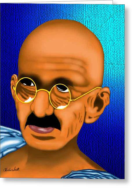 Beat It Digital Art Greeting Cards - Gandhi Greeting Card by Charles Smith