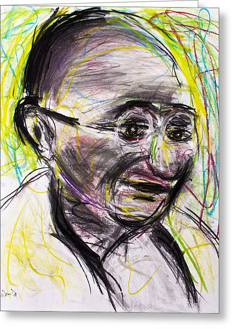 Independence Pastels Greeting Cards - Gandhi in color Greeting Card by Don Lee