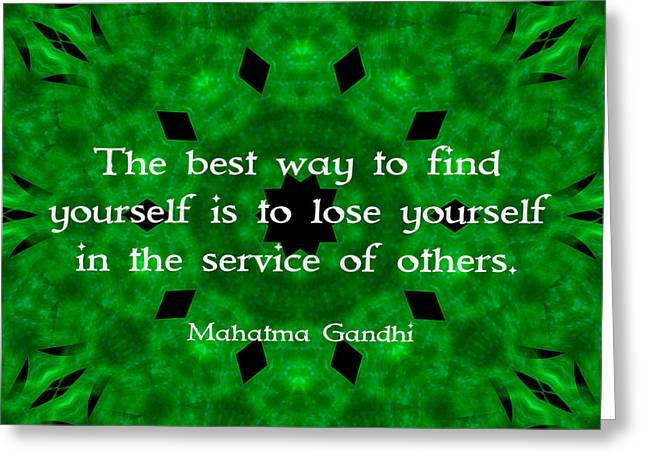 Self Discovery Greeting Cards - Gandhi Inspirational Quote About Self-Help  Greeting Card by Quintus Wolf