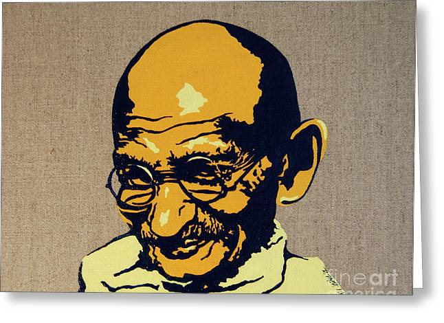Mott Greeting Cards - Gandhi Greeting Card by Rebecca Mott