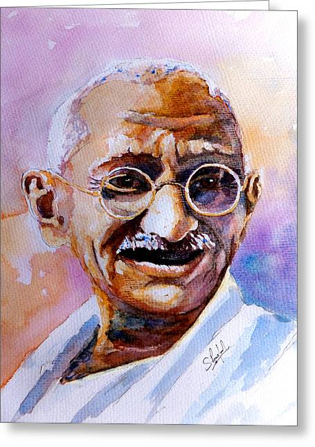 Ocean Art Photography Paintings Greeting Cards - Gandhi Greeting Card by Steven Ponsford