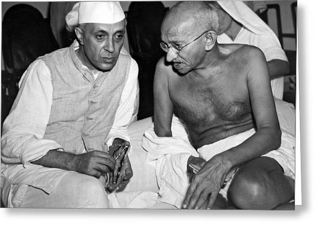 Gandhi Talks With Nehru Greeting Card by Underwood Archives