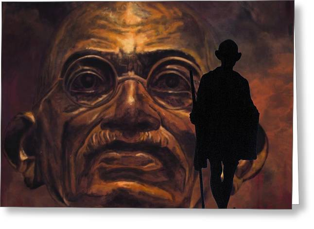 Statue Portrait Greeting Cards - Gandhi - the walk Greeting Card by Richard Tito