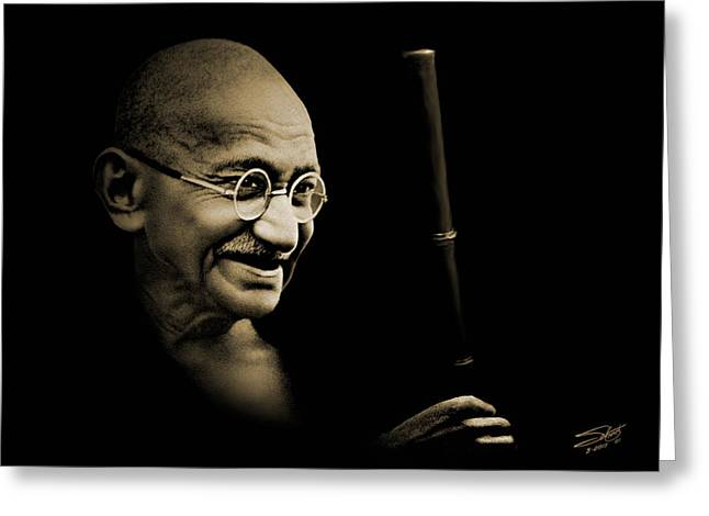 Gandhi Walking To The Sea Greeting Card by Schwartz