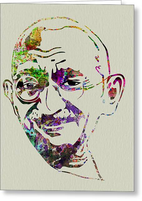 Liberation Greeting Cards - Gandhi Watercolor Greeting Card by Naxart Studio