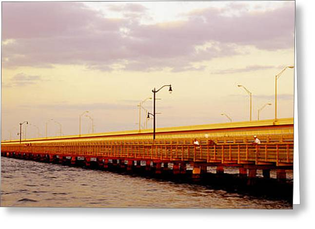 Florida Bridge Greeting Cards - Gandy Bridge Tampa Bay Tampa Fl Greeting Card by Panoramic Images