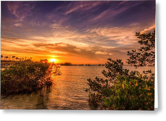 Tide Pools Greeting Cards - Gandy Sunset Greeting Card by Marvin Spates