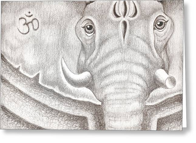 Ganapati Greeting Cards - Ganesh Greeting Card by Adam Wood