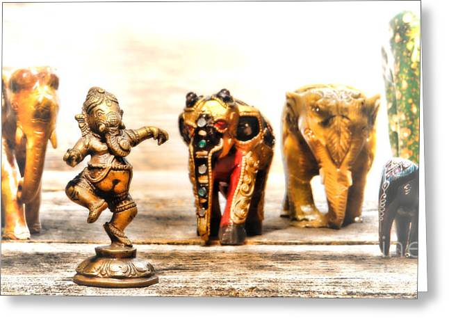 Metaphor Greeting Cards - Ganesh Dream Greeting Card by Olivier Le Queinec