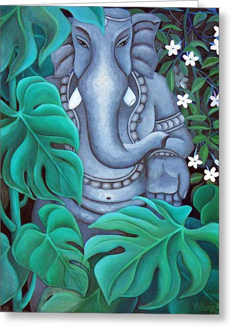 Vishwajyoti Mohrhoff Greeting Cards - Ganesh with Jasmine Flowers 2 Greeting Card by Vishwajyoti Mohrhoff