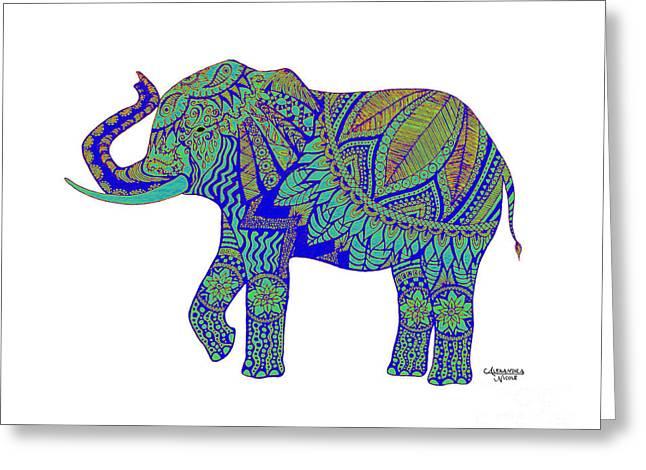 Pen And Ink Drawing Greeting Cards - Ganesha - Indigo Greeting Card by Alexandra Nicole Newton