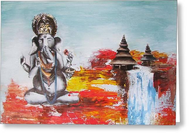 Big Belly Greeting Cards - Ganesha Greeting Card by Casey Pretzeus