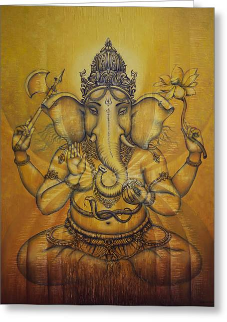 Sacred Paintings Greeting Cards - Ganesha darshan Greeting Card by Vrindavan Das
