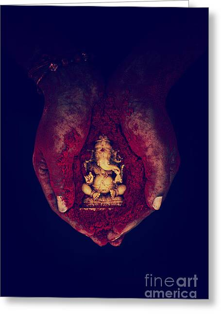 Obstacles Greeting Cards - Ganesha Deity Greeting Card by Tim Gainey