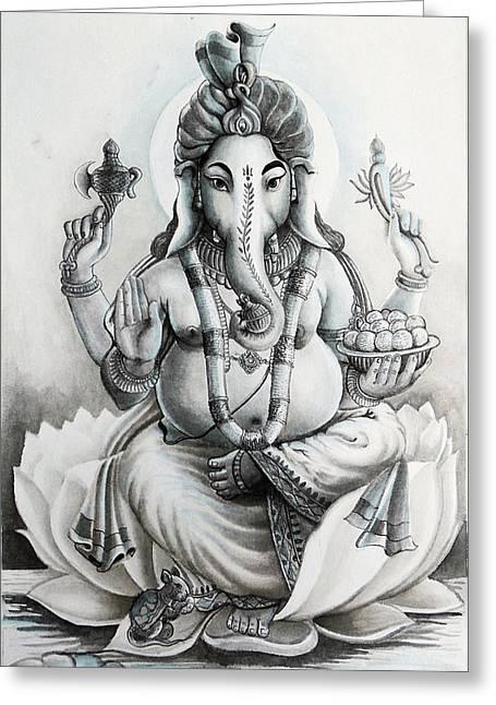 Aura Drawings Greeting Cards - Ganesha Hindu God Black And White Portrait Greeting Card by Arun Sivaprasad