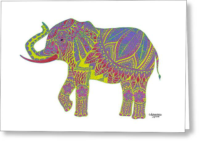 Doodle Greeting Cards - Ganesha in Yellow Greeting Card by Alexandra Nicole Newton