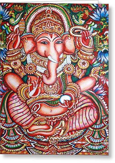 Kerala Murals Greeting Cards - Ganesha Greeting Card by Kami