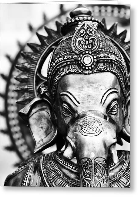 Spirituality Greeting Cards - Ganesha Monochrome Greeting Card by Tim Gainey