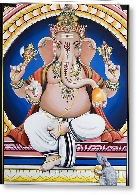 Obstacles Greeting Cards - Ganesha Painting Greeting Card by Tim Gainey