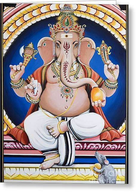 Ganesha Painting Greeting Card by Tim Gainey