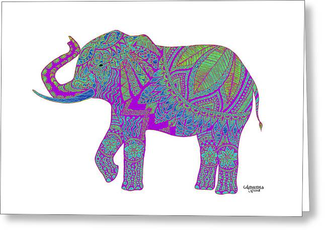 Doodle Greeting Cards - Ganesha - Purple Greeting Card by Alexandra Nicole Newton