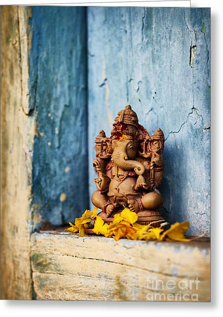 Ganesha Statue And Flower Petals Greeting Card by Tim Gainey