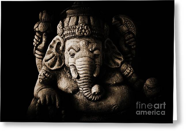 Sacred Greeting Cards - Ganesha the Elephant God Greeting Card by Tim Gainey