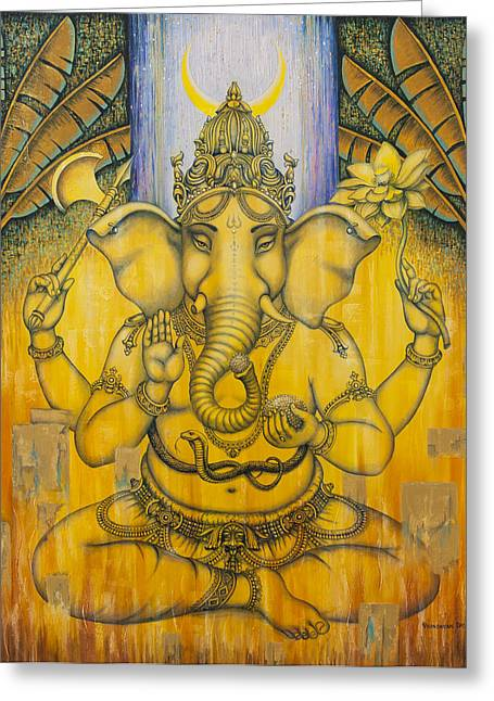 Ganapati Greeting Cards - Ganesha Greeting Card by Vrindavan Das
