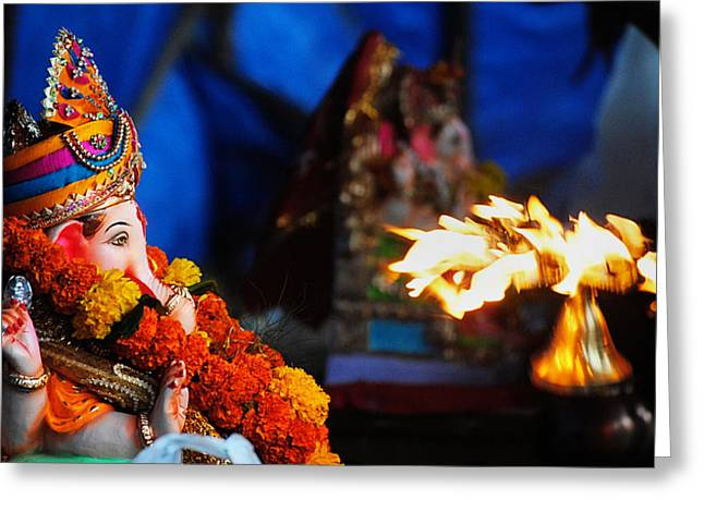 Money Sharma Greeting Cards - Ganesha Worship Greeting Card by Money Sharma