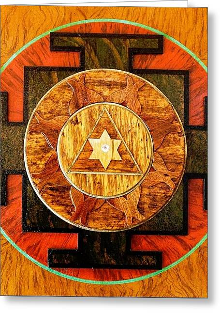 Sacred Sculptures Greeting Cards - GANESHA SACRED 3D HIGH RELIEF ARTISTICALLY CRAFTED WOODEN YANTRA    23in x 23in Greeting Card by Peter Clemens