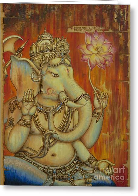 Vaktratunda Greeting Cards - Ganesha Greeting Card by Yuliya Glavnaya