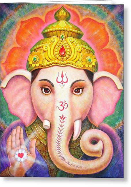 Ganesha's Blessing Greeting Card by Sue Halstenberg