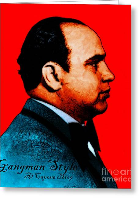 Gangnam Style Greeting Cards - Gangman Style - Al Capone c28169 - Red - Painterly Greeting Card by Wingsdomain Art and Photography