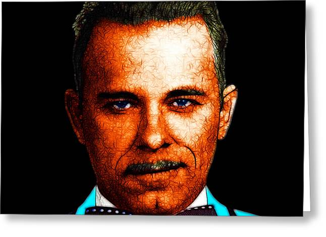 Gangman Style - John Dillinger 13225 - Black - Color Sketch Style Greeting Card by Wingsdomain Art and Photography