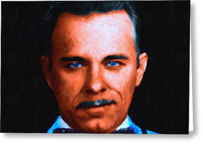 Gangman Style - John Dillinger 13225 - Black - Painterly Greeting Card by Wingsdomain Art and Photography