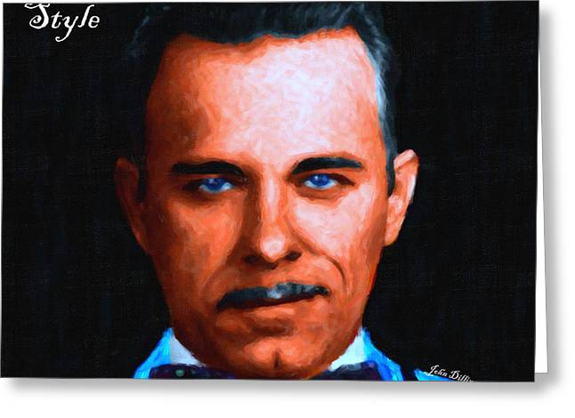 Gangnam Style Greeting Cards - Gangman Style - John Dillinger 13225 - Black - Painterly - With Text Greeting Card by Wingsdomain Art and Photography